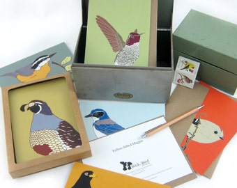 Bird Note Cards Mix and Match 8 --Printed on Recycled Paper