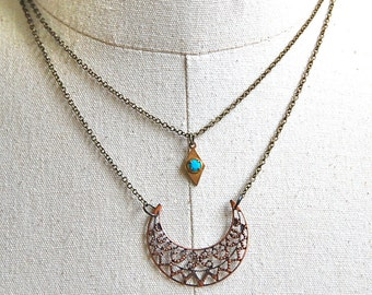 Boho layering turquoise charm necklace,festival necklace. Tiedupmemories