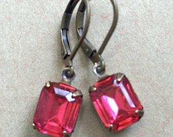Small colorful rhinestone dangle earrings. tiedupmemories
