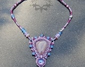 Beadwoven Necklace with Purple Chalcedony and Vintage Glass