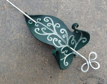 Elvish Leaf Leather Hair Slide or Shawl Pin In Forest Green And Silver with Artisan Crafted Aluminum Wire Hairstick - Medium Spacing