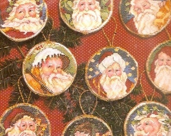 Christmas cross stitch 90s Vintage Santa Ornaments Janlynn Number 12555 Holiday St Nick Xmas Decor DIY kit project