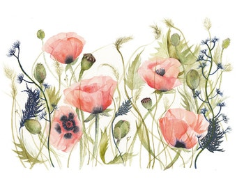 Poppies and Grasses watercolor- Print of Original Watercolor