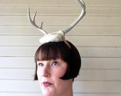 Deer Antler Headband - white felt base - headdress head dress head band
