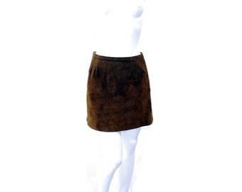 Vintage 60s Suede Mini Skirt Rust Brown Cowgirl Skirt // Brown Suede Zip Skirt // 121