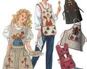 Designer Apron Pattern 4 Styes Lambkin Holiday Applique Simplicity 7889 Womens Sewing Pattern SM M LG Bust 32 - 42 UNCUT