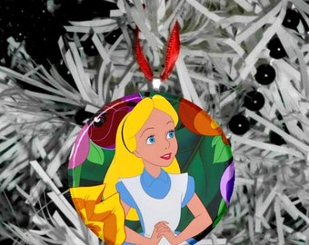 Disney Alice in Wonderland Christmas Tree Pendant Ornament - Alice with talking flowers