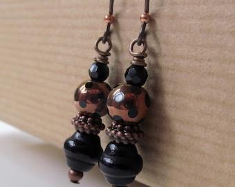 Black Polka Dot Copper Glass Bead Niobium Earrings