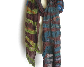 Felted Nuno Scarf Wool Silk Shawl Redish-Brown Green Blue Turquoise Emerald-Green Stripes Extra long