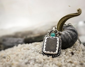 No Judgement // Black Hypersthene and Turquoise Sterling Filigree, Higher Heart Chakra Necklace by BellaLili