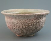 RESERVE FOR JEANINE Waste Water Bowl, wood-fired iron rich stoneware with crawling shino and natural ash glazes