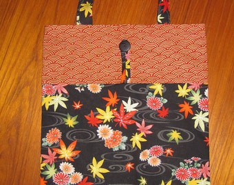 Tuck and Roll Fold-Up Portable Shopping Tote Japanese Maple Leaves & Chrysanthemums Design Black