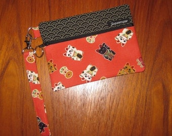 Wrist Strap Zippered Pouch Maneki Neko Japanese Cat Design