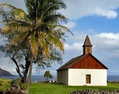 Maui beach photo, church photo, architectural photo, Maui wall art, Hawaii photo, travel photography, blue beach art, blue beach photo