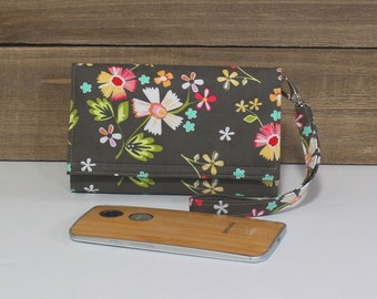 iPhone Wristlet Wallet Card Holder, Cell Phone Wallet Wristlet Purse, Galaxy S5 Note, LG, Nexus, Smartphone Wallet Wristlet, Taupe Floral