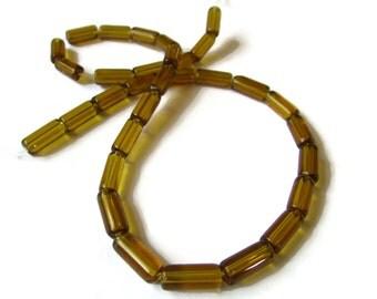 10mm Amber Brown Glass Tube Beads Full Strand