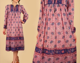 ViNtAgE Indian Cotton Dress 70's Gauze Cotton Bohemian Dress // Quilted Bib India Festival Dress Hippie BoHo Gypsy Small S