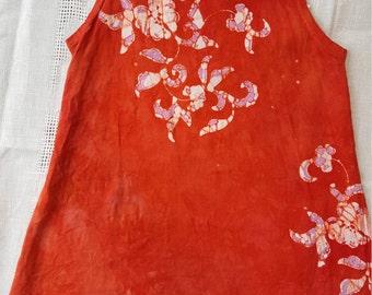 Girl's 6 orange floral batik tank dress