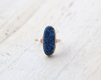 Druzy Oval Gold Ring ,  Statement Gemstone Ring in Blue , Gold , Sterling Silver , Rose Gold , Christmas Gift Ideas - Cobalt