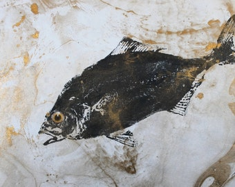 "Salt Water Jack Fish Rubbing GYOTAKU on beautiful gold swirl paper 15"" X 11"" Beach House Art"