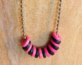Pink and Black Necklace - Bright Pink Hot Pink Black Ball Chain Necklace Sorority Classic