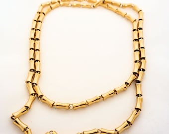 Bamboo Link Long Necklace, Vintage 36 inch Anne Klein Bamboo Link Necklace
