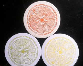 Lemon, Lime & Orange citrus letterpress coasters - Set of 12 (4 each color)