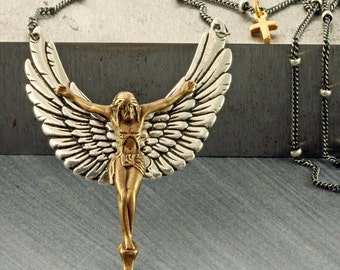 Jesus Necklace Wings Necklace Crucifix Necklace Christian Necklace Christian Jewelry Jesus Pendant Cross Necklace Sterling Silver Jesus
