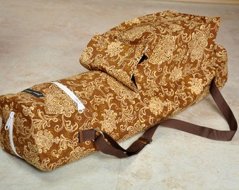 Yoga mat bag, great quality yoga tote bag, beautiful brown and gold floral paisley batik yoga mat carrier, boho chic bag with zippers
