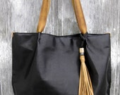 Black Leather Tote Bag in Lightly Distressed Black Leather by Stacy Leigh
