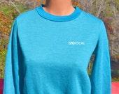 vintage 70s sweatshirt SASSON preppy athletic teal dance fun crewneck jumper women's Small 80s