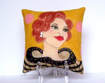 new...NATALIE PILLOW, hand painted pillow, mustard, pink, plaid dress, 5in X 5in, gift for her, rhinestones, quote, glamourous lady, taupe