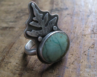 SALE Big Chrysocolla and Sterling Silver Fern Ring