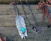 FLIGHT necklace - Feather arrow necklace with turquoise gemstone - sterling silver, oxidized, southwest, nature, fletching, handmade closure