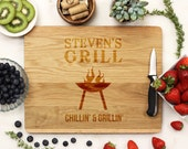 Custom Grill, Cutting Board, Custom Cutting Board, Cutting Board,  Engraved Wood, White Oak wood --21157-CUTB-004