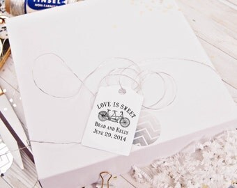 """Love is sweet rubber stamp with Tandem bike for Candy Buffet wedding favors 2"""" x 2"""""""