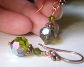 Olive Crystal Earrings, Swarovski Earrings, Copper Earrings, Olivine Crystal Earrings, Round Swarovski Dangle