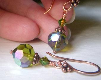 Olive Crystal Earrings, Swarovski Earrings, Copper Earrings, Olivine Crystal Earrings, Round Swarovski Dangle