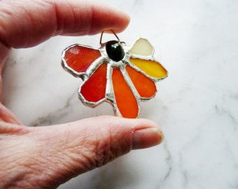 SALE - Stained Glass Pendant with Tourmaline Center and Orange Petals
