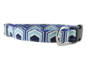 Blue Dog Collar - Boy Dog Collar - Blue Hexagon Dog Collar - Navy Blue Dog Collar - Teal and Navy Dog Collar - White Dog Collar