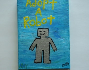 Adopt A Robot Folk Art Typography Word Art Folk Painting NayArts