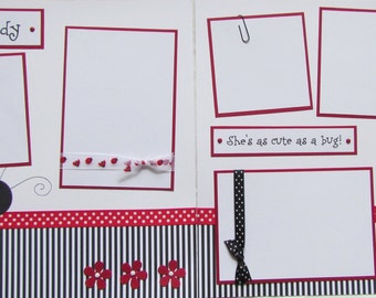 12x12 Premade Scrapbook Layout Pages -- Girl Ladybug handmade layout -- LITTLE LADY - Show off your girl, baby girl in this adorable layout!