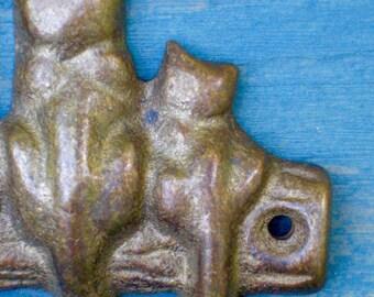 Vintage Key Hook - Cats Galore!  - Brass