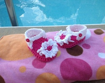 Baby Sandals Crocheted Infant Sandals Pink Baby Sandals Flower Sandals