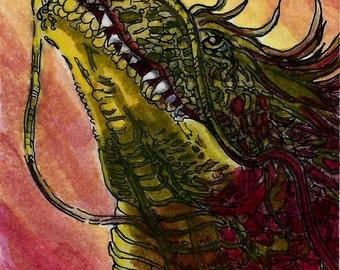 ACEO Dragon Watercolor & Ink Original Miniature Art