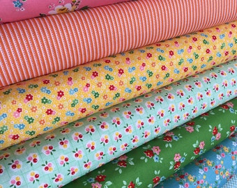Backyard Roses Fabric bundle of 7, Floral fabric, Retro fabric, Quilting Fabric by Nadra Ridgeway for Riley Blake Fabrics- Choose the Cuts