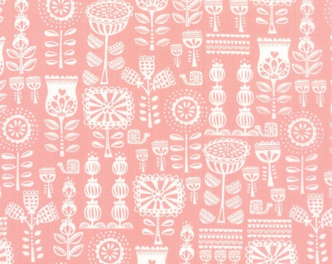Red Riding Hood Fabric, Floral fabric, Pink fabric, Stacy Iest Hsu, Kids fabric, Grandmothers Wallpaper in Pink, Fabric by the Yard