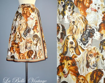 Puppy Love ~ Vintage 1970s Novelty Print Wrap Skirt ~ Awesome Dog Print Fabric