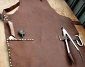 Leather Work Apron with Knife Sheath Pockets