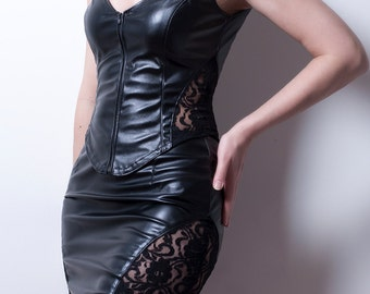 Black Pencil Skirt in faux Leather and Lace-Small (Sale)